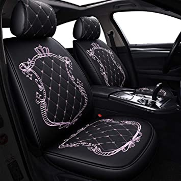 Brilliant Skysep Crown Car Seat Covers Fully Surrounded Unisex Seat Winter Leather Seats Car Pu Leather And 3D Breathable Fabric Black Pink Ocoug Best Dining Table And Chair Ideas Images Ocougorg