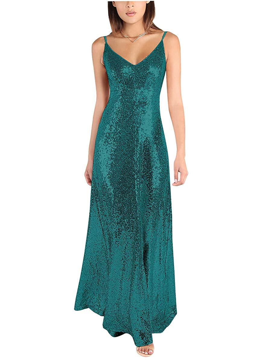 Teal Sequin VNeck Bridesmaid Dresses Long Backless Spaghetti Evening Formal Gowns 2019