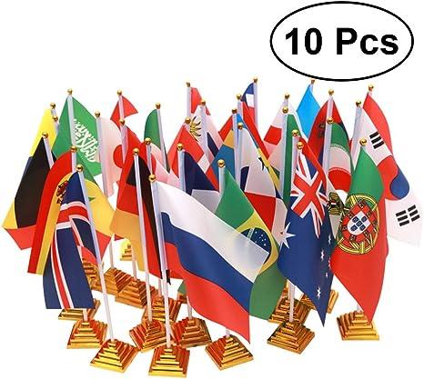 VORCOOL 10pcs 2018 Rusia World Cup Banderas del País Banderas internacionales con Soporte Banderas del Mundo para Escritorio Decoraciones de Mesa: Amazon.es: Deportes y aire libre