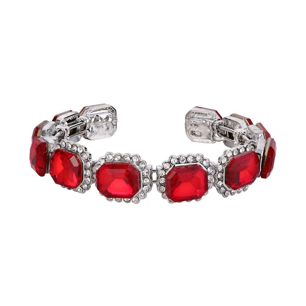 BriLove Women's Wedding Bridal Bangle Bracelet Multi Emerald Cut Crystal Open Stretch Bracelet Ruby Color Silver-Tone