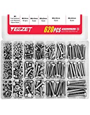 YEEZET 620PCS M4 M5 M6 Heavy Duty Bolts and Nuts Assortment Kit, 304 Stainless Steel, Includes 13 Most Common Sizes