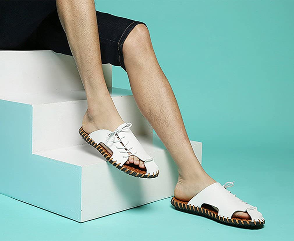 MT-TBA Mens Close-Toe Leather Slipper Summer Sandals with Lace up Details