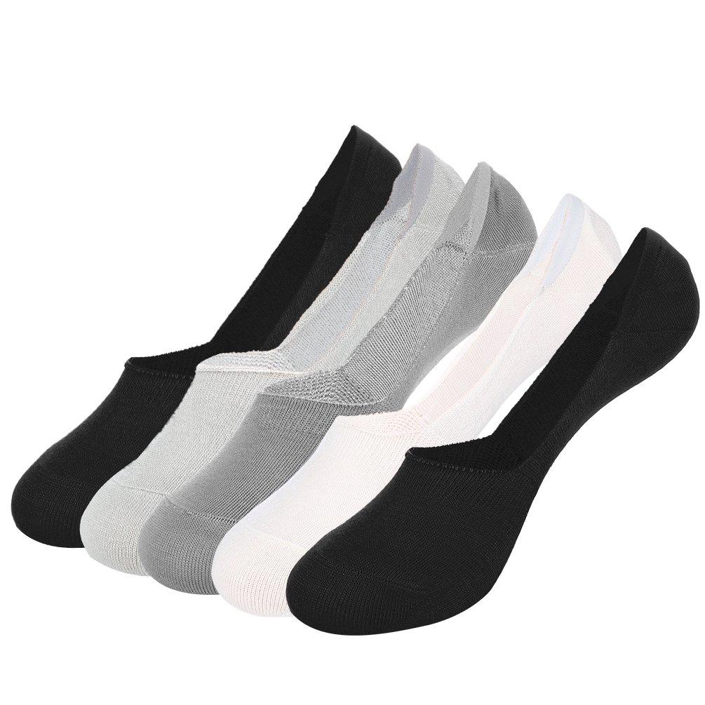 VBIGER Uomo No Show Socks Invisible 6 Pairs (2 Nero/Grigio scuro/Grigio chiaro/Bianco)