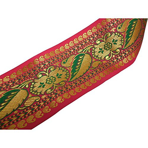 [Indian Brocade Silk Shimmering Gold Green & Pink Paisley Ethnic Print Costume Fabric Sari/Saree Border Trim Sold by the] (Vintage Paisley Print Costumes)