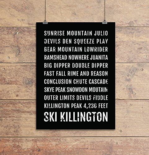 Ski Killington Poster - Vermont Ski And Skiing - Subway Poster, Boyfriend Gift, Husband Gift, Wall Art, Train Scroll, Bus Scroll, Ski Decor