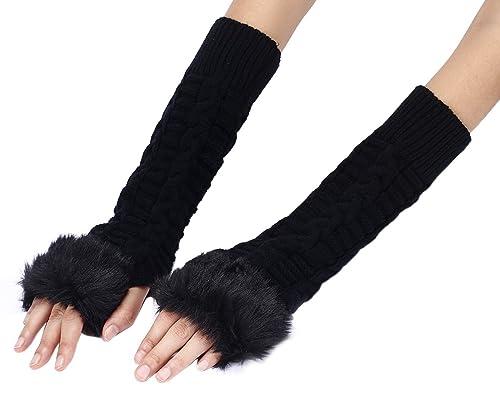 Fletion braccio lungo, senza dita, da donna, in pelliccia sintetica, in lana, invernale, lavorato a mano, guanti, guanti a manopola per polso, ideale come regalo per Natale