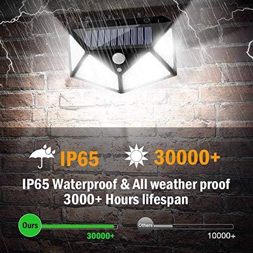 Solar Sensor Lights,100 Led Solar Motion Sensor Lights Wireless,(4 Pack), Ip65 Waterproof Solar Powered Security Light for Garden Patio Yard Deck Garage Fence Pool