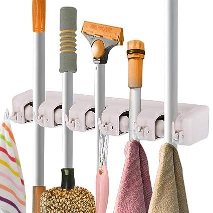 toolsempire broom and mop holder wall mounted garden tool rack garage storage organizer rack 5 position - Garden Tool Rack