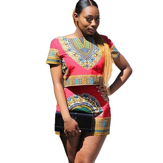 50e25a80447fb6 Bravetoshop Women Dashiki African Printing Short Sleeve 2 Piece Set Short  Pants Casual Outfit Sportswear (