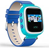 Witmoving Childrens Smart Watch GPS Tracker Kids Wrist Watch Phone with Sim Card Slot Anti-lost SOS Parent Control By IOS Android Smartphone (Blue)
