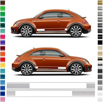 Auto Dress Seiten Streifen Aufkleber Set Dekor Passend Für Vw Beetle S In Wunschfarbe 149x9 5cm 111m Black Matt Auto