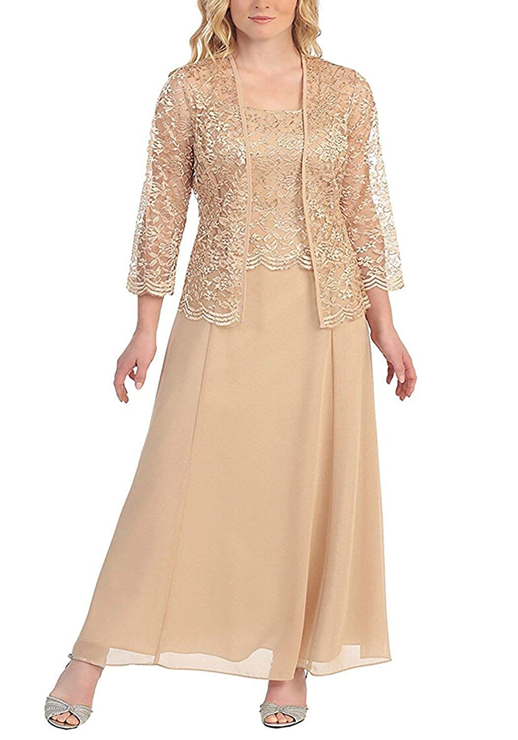 Champagne Mother of The Bride Dresses with Jackets Formal Evening Gowns Long Sleeves Lace Mother Dress