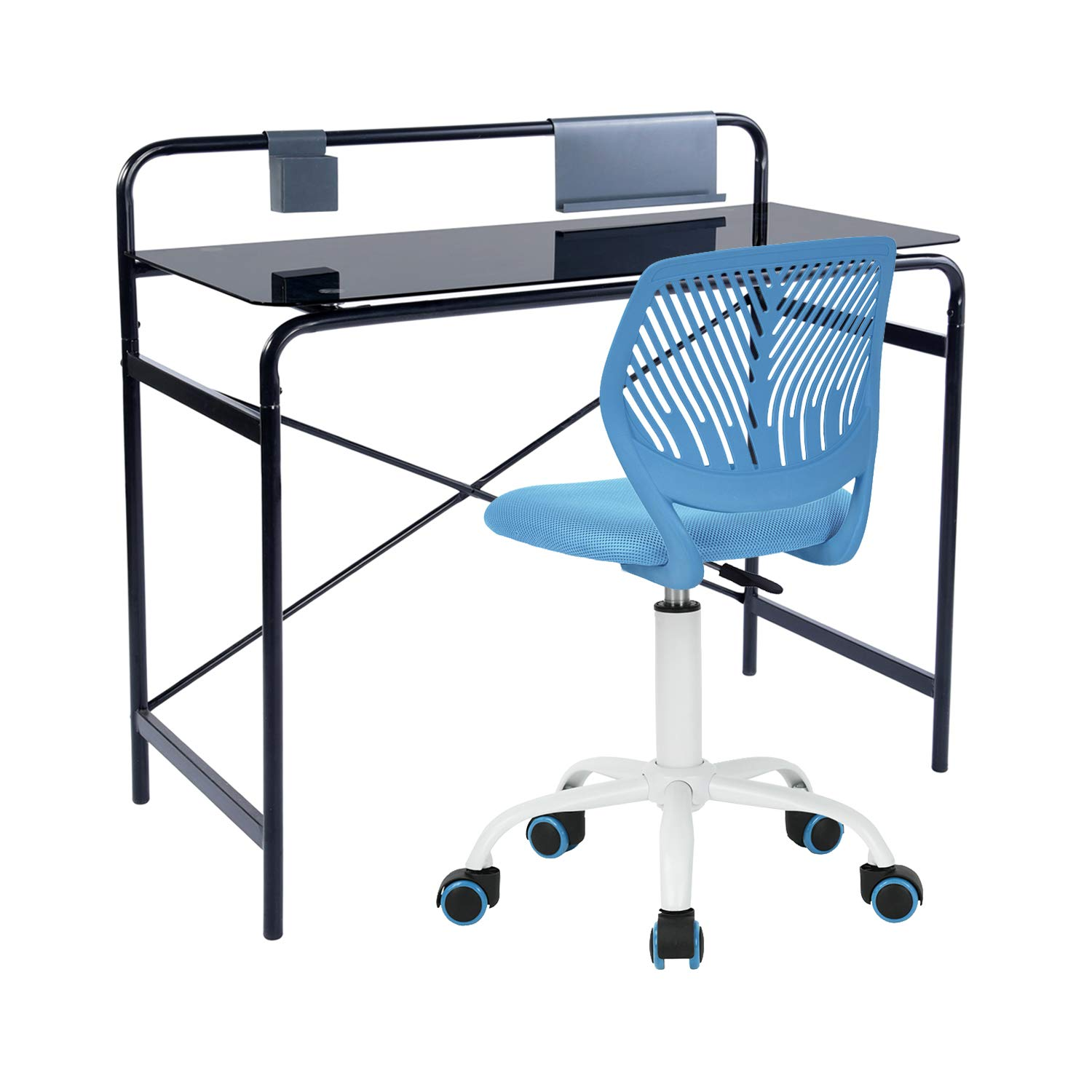 Homy Casa Set of 2 Student Desk Chair Set Study Desk Chair for Kids Back to School Furniture (Blue) by Homy Casa Inc