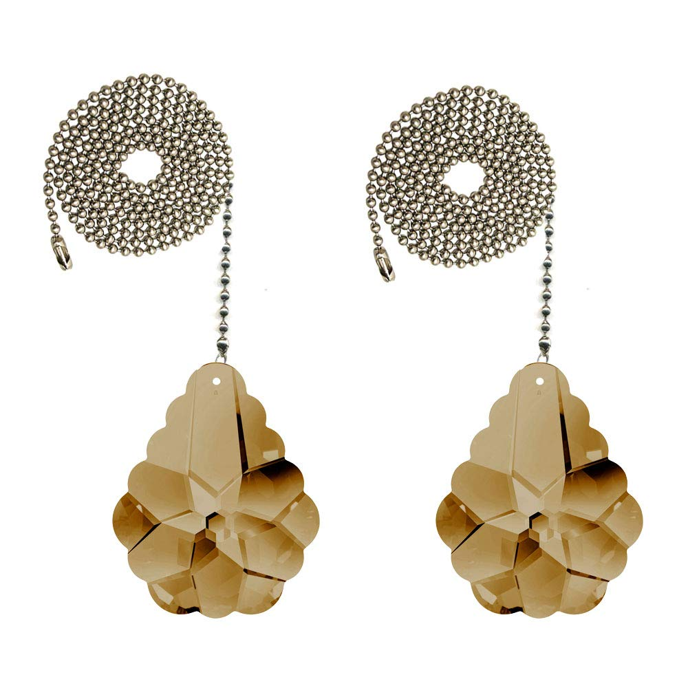 CrystalPlace Ceiling Fan Pull Chain 2-inch Swarovski Golden Teak Pendeloque Prisms Decorative Fan Chain Pulls Set of 2