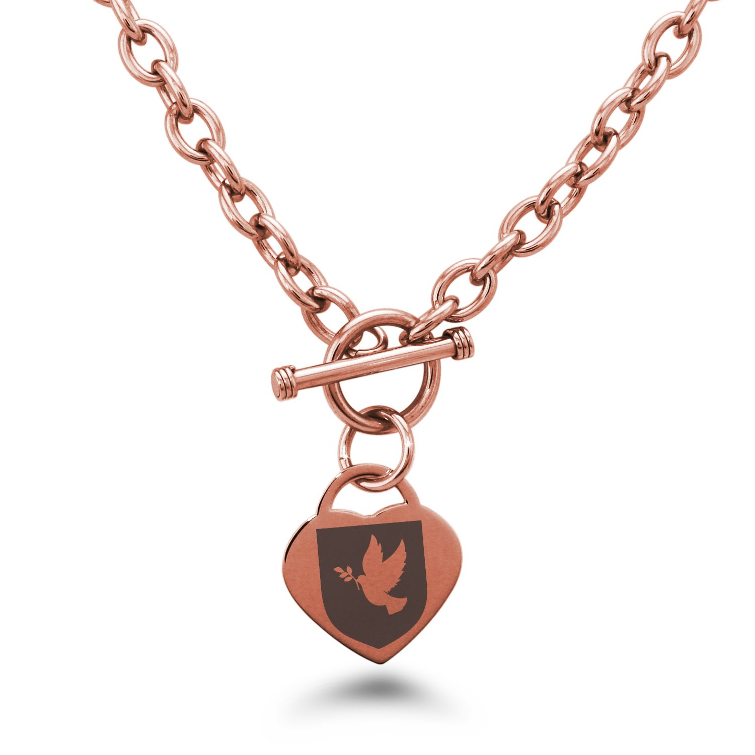 Tioneer Rose Gold Plated Stainless Steel Dove Peace Coat of Arms Shield Symbols Heart Charm, Necklace Only