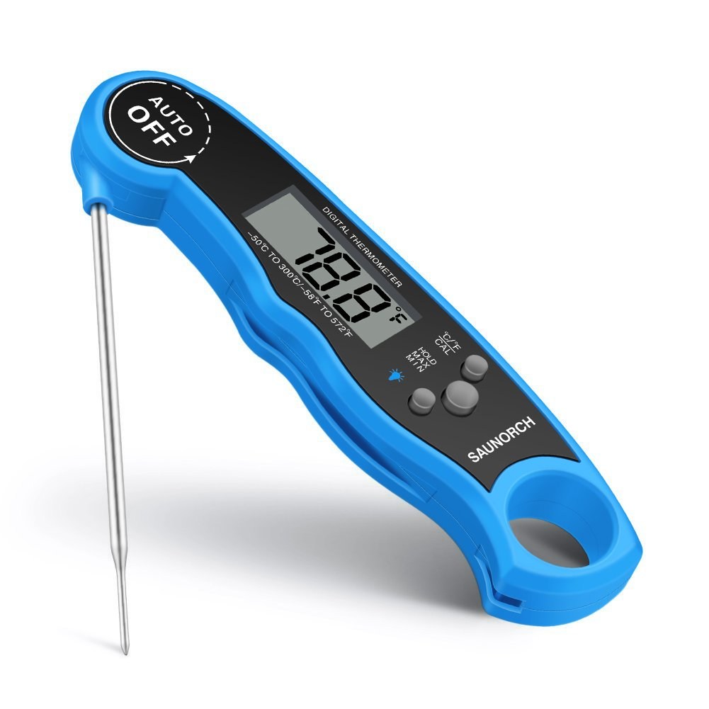 SAUNORCH Meat, Waterproof Instant Read Digital Food Thermograph Liquid BBQ Grill Kitchen Baking Cooking Thermometer with Calibration, and Backlit-Blue Digital Meat Thermometer