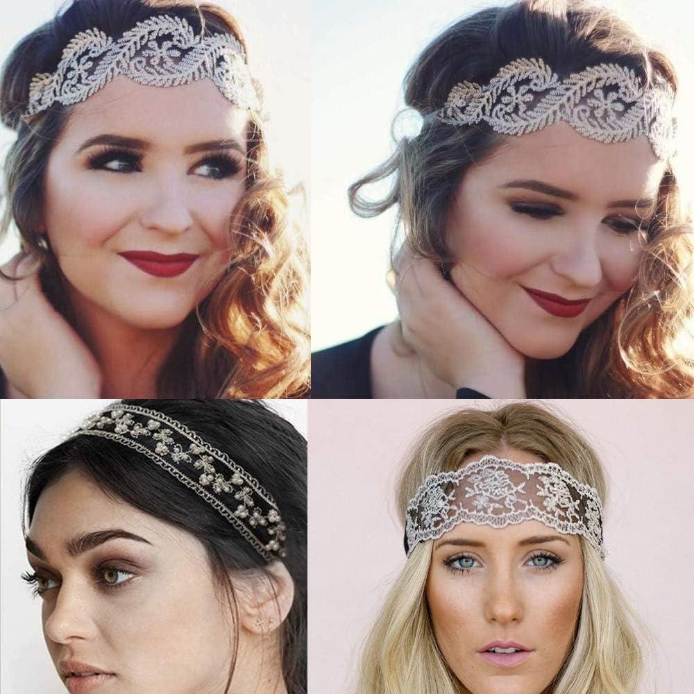 8 pezzi fasce per capelli in pizzo elastici fasce per capelli in pizzo perle gioielli fasce perline fascia per capelli elegante per donna donna ragazze
