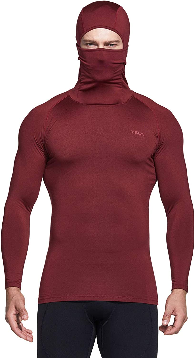 TSLA Mens Hoodie Mask Thermal Compression Baselayer Top Cool Dry Active Running