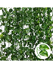 Fake Vines 80 Ft 12 Pack Artificial Ivy, Artificial Vines Room Decor, Vines for Bedroom Indie Room Decor Greenery Garland Faux Ivy Hanging Vine Plant for Party Garden Office Wedding Decor