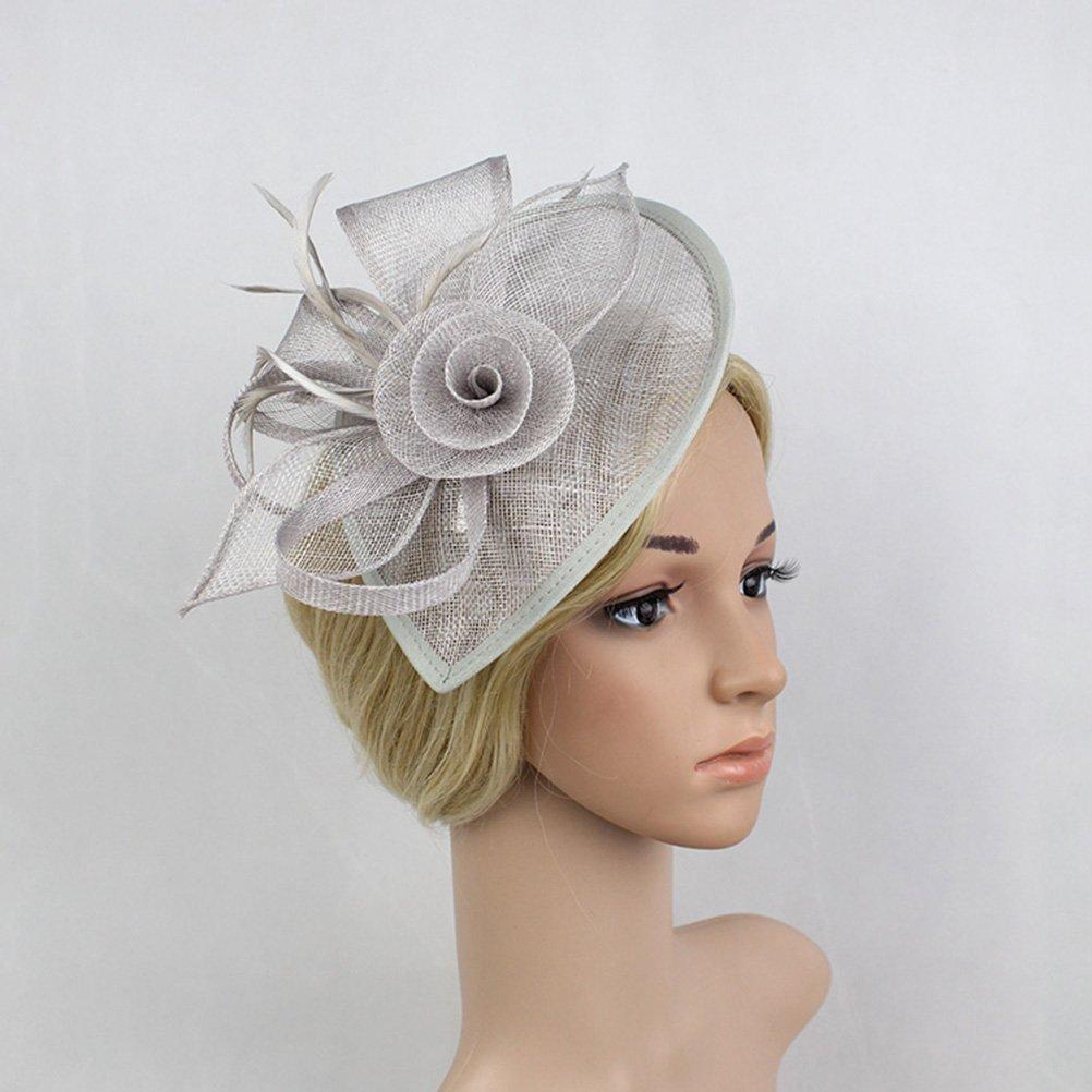 Frcolor Cappello di Fascinator cappello di feltro da cerimonia nuziale del partito di cerimonia nuziale per le donne grigio
