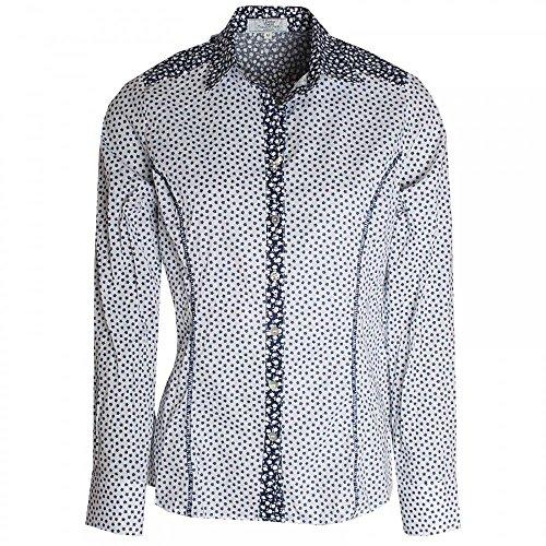 Dani Daisy Print Stretch Cotton Shirt Navy Multi