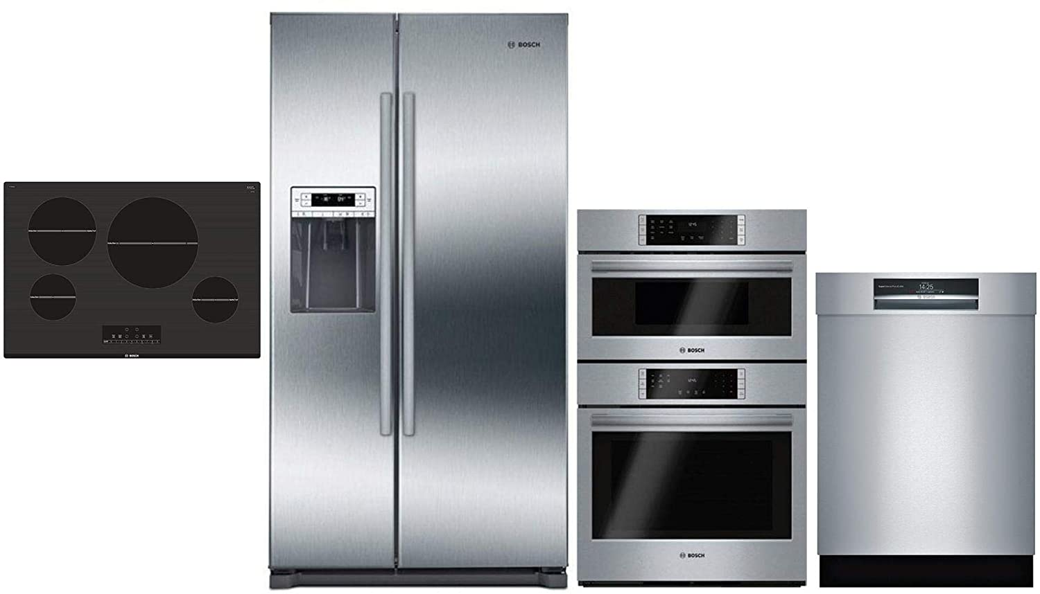 "Bosch 4 Pcs Kitchen Package B20CS30SNS 36"" SBS fridge, HBL87M52UC 30"" Elec. Wall Oven/M/W Combo,NIT8068UC 30"" Elec. Cooktop and SHEM78WH5N 24"" Built-In Semi-Integ. Dishwasher in stainless steel"