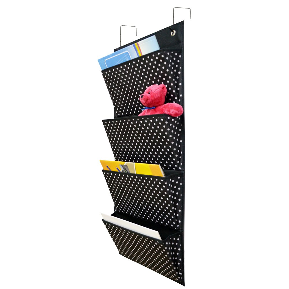 Over The Door Organizer Door/Wall Hanging File Organizers Foldable with 4 Pockets 2 Hooks for Magazines, Notebooks, File Storage Folders (Black with White Dot)