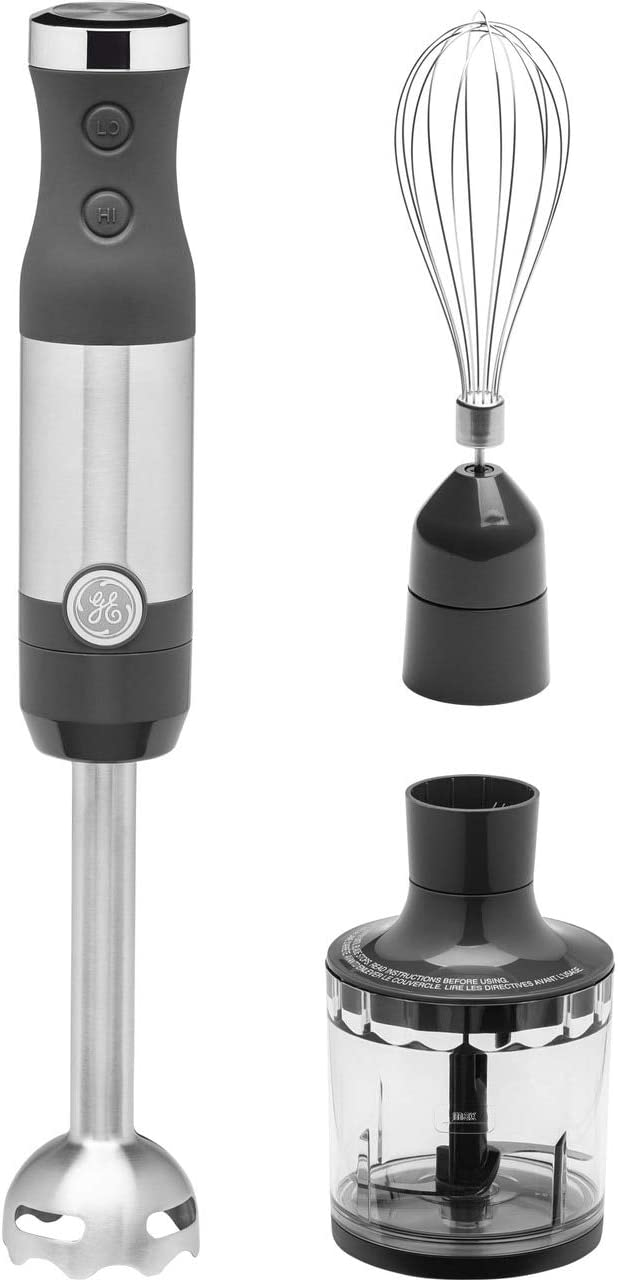 GE Immersion Hand Blender, 500 Watt High-Performance, 3-in-1 with Blend & Chop, Whisk & Chopping Jar Attachments, Dual Speed Immersion for Easy One-Handed Operation, Stainless Steel, G8H1AASSPSS