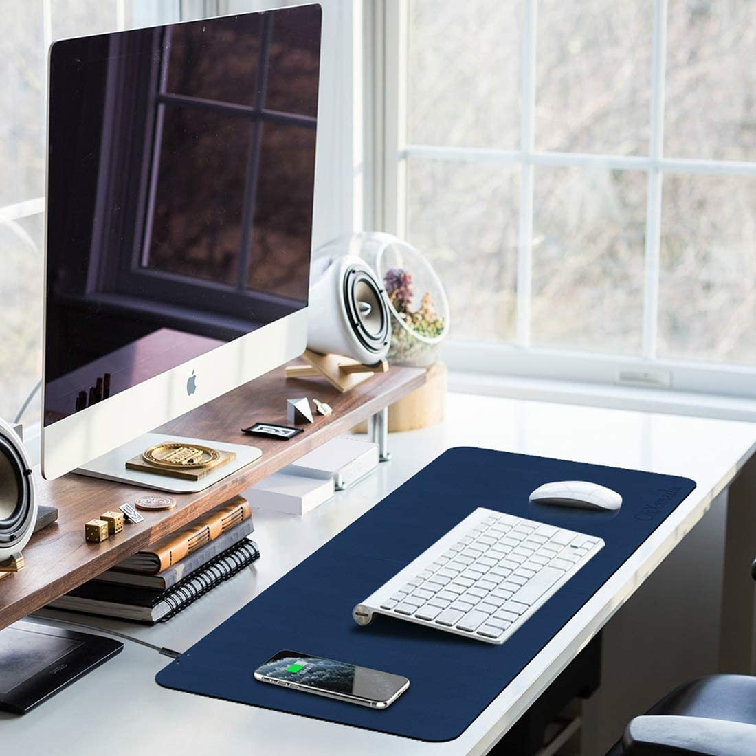 Large Mouse Pads for Office//Home,Knitted Cloth Off-White Space-IOT QI Wireless Charging Mouse Mats 31.5X11.8 inch