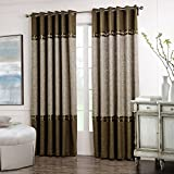 Dreaming Casa Solid Curtains Polyester Window Treatment 2 Tone Stitching design Luxury Style Coffee (2 Panels) 72'' W x 84'' L