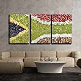 wall26-3 Piece Canvas Wall Art - Africa Flag Food on White Background - Modern Home Decor Stretched and Framed Ready to Hang - 24''x36''x3 Panels