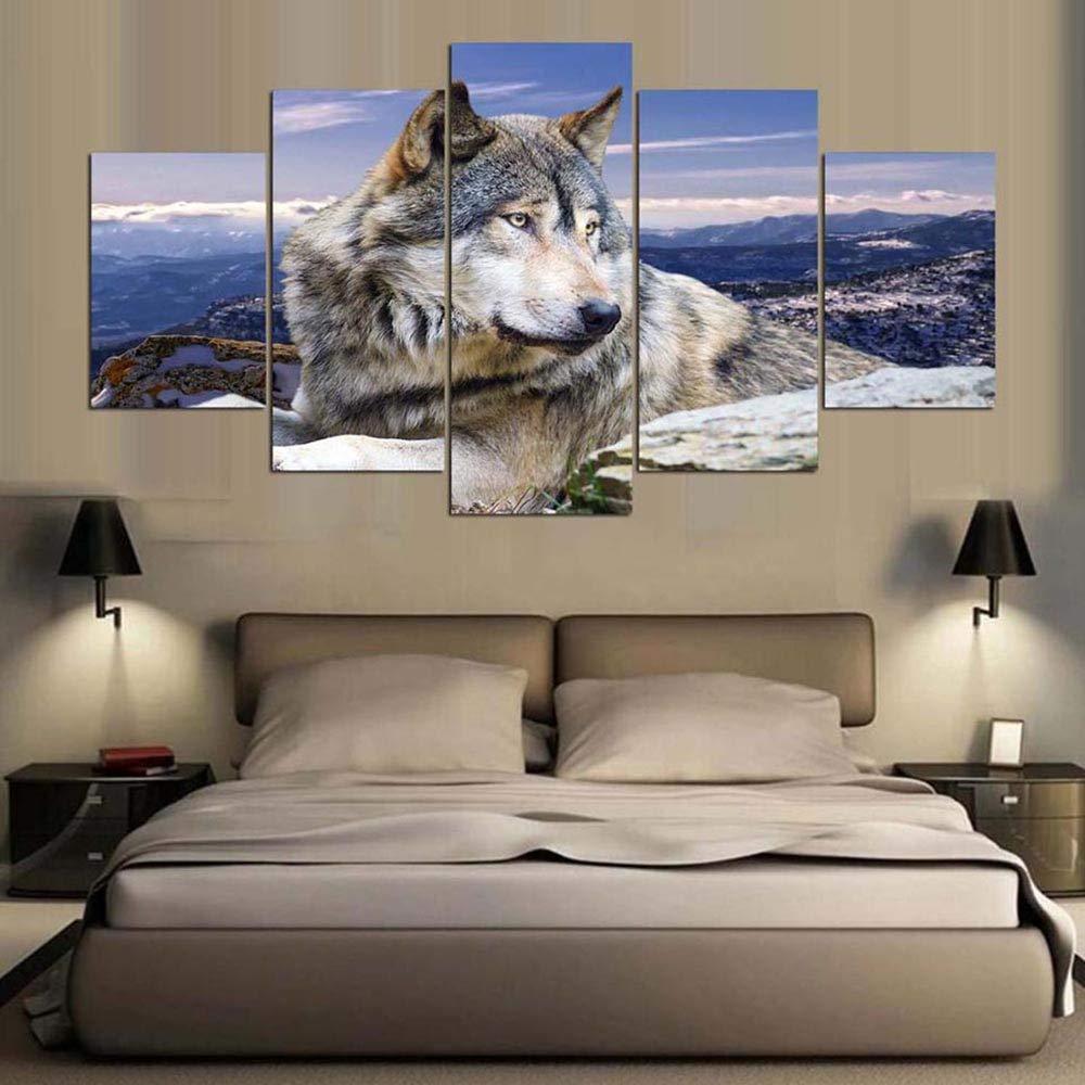 HIMFL Lona HD Impreso Pintura Decoraci/ón del hogar 5 Paneles Lobo Animal Mural Modular Im/ágenes para Sala de Estar