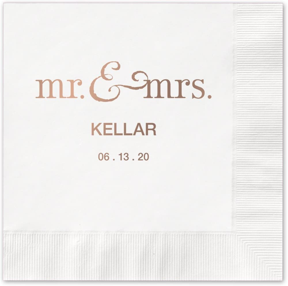 """Mr And Mrs Personalized Cocktail Napkins / 100 White 3-Ply Paper 4 ¾"""" x 4 ¾"""" Beverage Napkins With Choice Of Foil"""