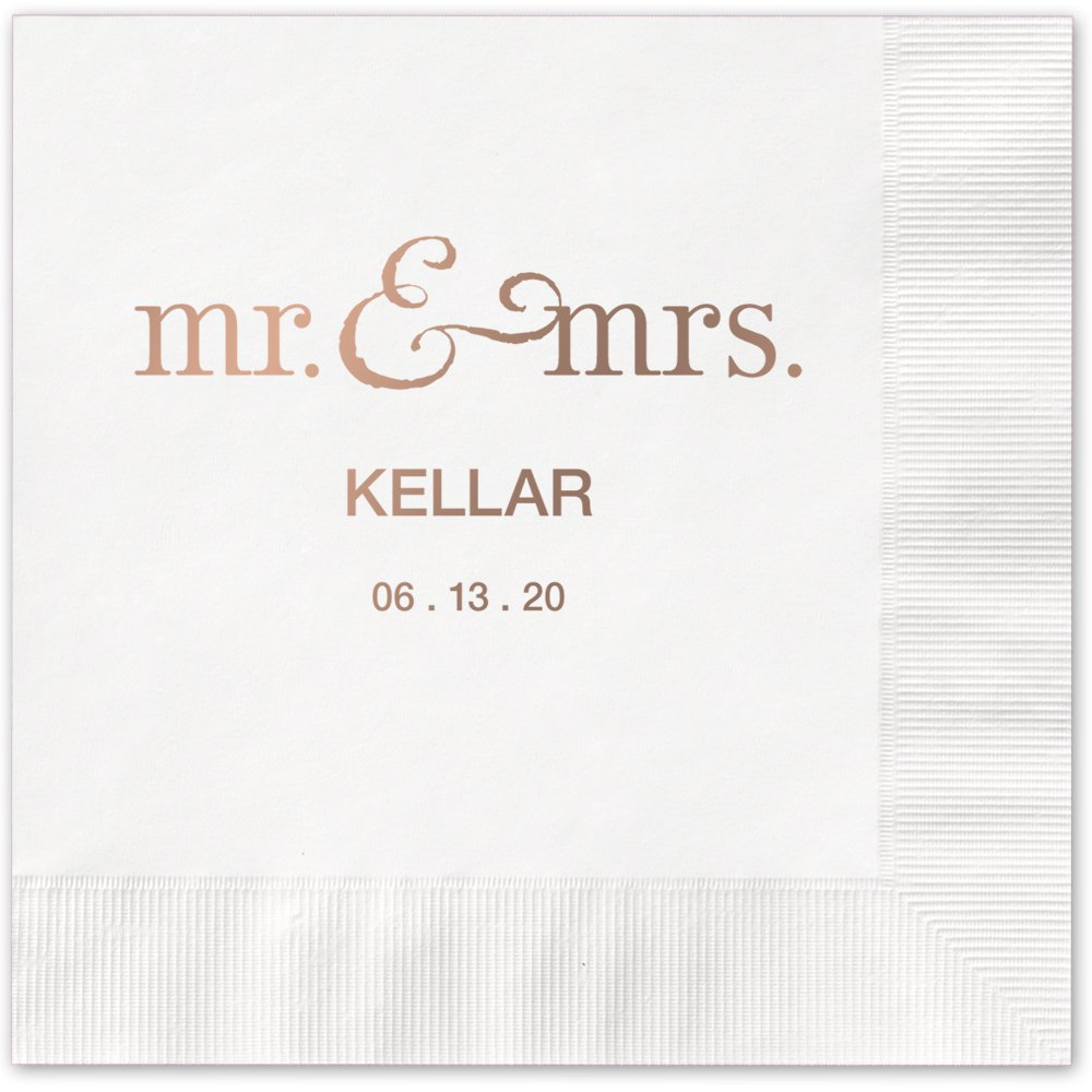 Mr and Mrs Personalized Beverage Cocktail Napkins - Canopy Street - 100 Custom Printed White Paper Napkins with choice of foil stamp (5125B)
