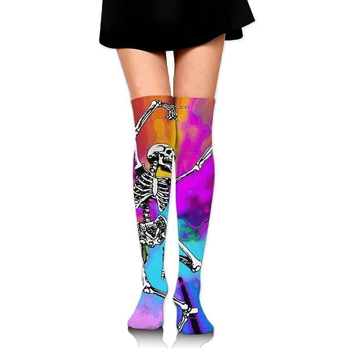 fa2416e5685c4 Amazon.com: Fashion Happy Skeleton Women's Thigh High Stockings Over The Knee  High Leg Long Sport Sock Boot Socks Girls Leggings: Clothing