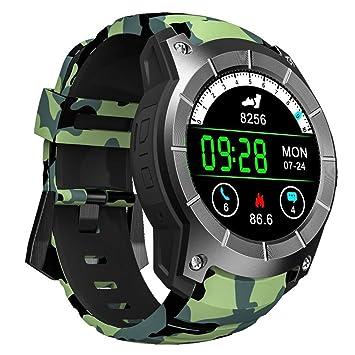 OOLIFENG Reloj Inteligente, Corriendo Relojes Con GPS, Pulsómetros, Brújula, Deportes Podómetro Para Ios Android,Camo: Amazon.es: Deportes y aire libre