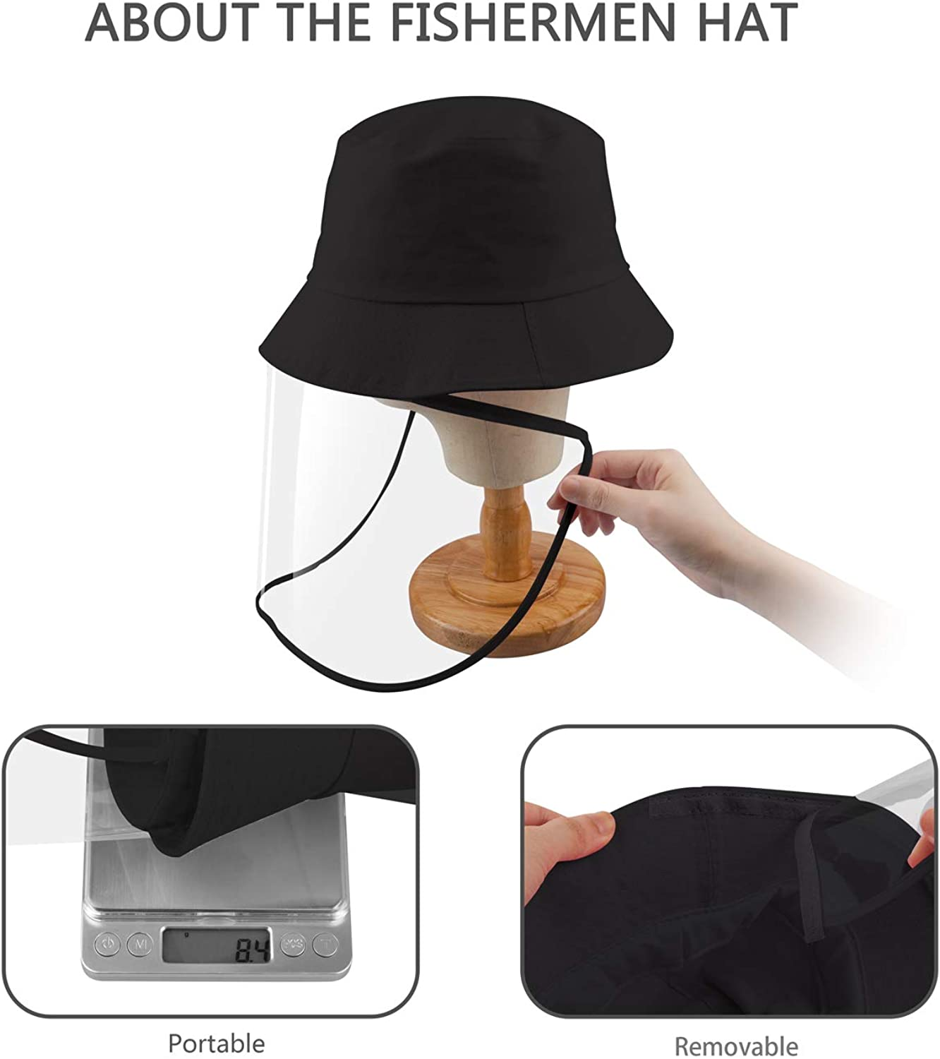 HONGKIT Protective Hat with Shield,Fedora hat for Adult M Size