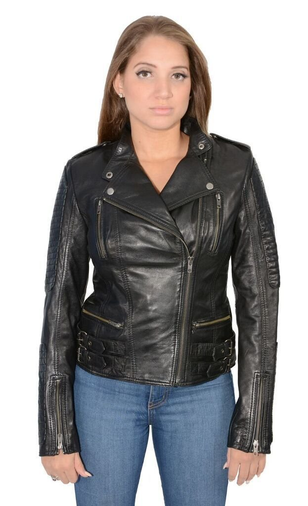 Womens Short Motorcycle Look Double Buckles with Quilt Very Soft Leather Fashion(M)