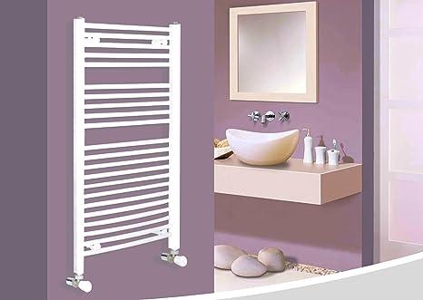 Dekorpan Etna - Radiador de baño, calentador de toallas, color blanco,