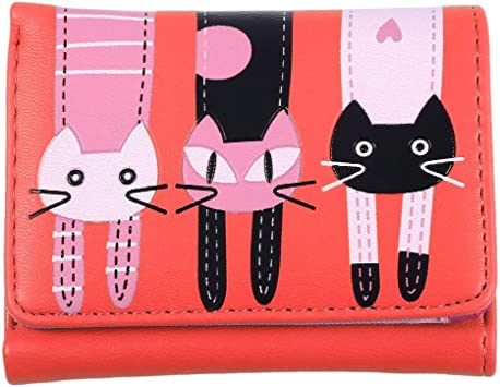 Women Girls Cute Long Wallets Cartoon Cats Purse Female Card Phone Pouch Handbag