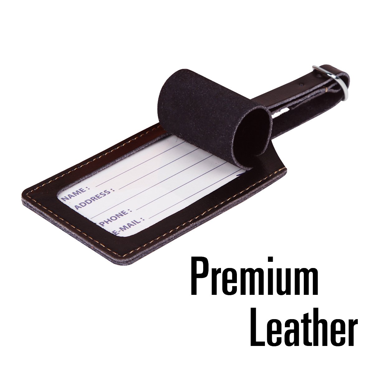 SwissElite Genuine Leather Luggage Tags /& Bag Tags 2 pieces Set in 14 Color
