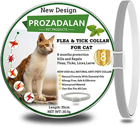 Image of PROZADALAN Collar Antiparasitario para Gatos,Los aceites Esenciales Naturales Duran 8 Meses para el Tratamiento de pulgas, 35 cm de tamaño Ajustable e Impermeable (1pack)