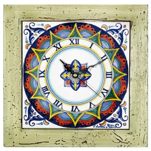 Hand Painted Italian Ceramic 13-inch Square Wall Clock Geometrico - Handmade in Deruta