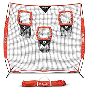 GoSports Football Trainer Throwing Net | Choose Between 8′ x 8′ or 6′ x 6′ Nets | Improve QB Throwing Accuracy – Includes Foldable Bow Frame and Portable Carry Case