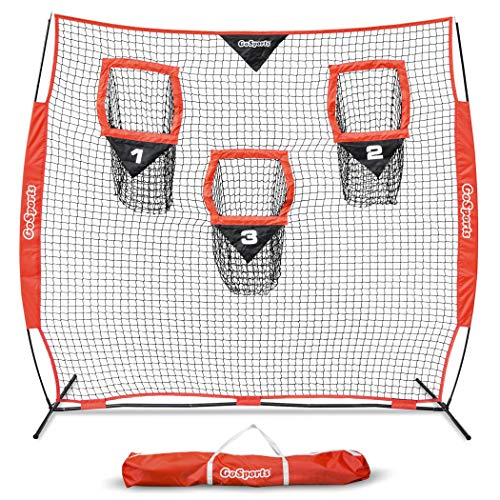 GoSports 8' x 8' Football Trainer Throwing Net | Improve QB Throwing Accuracy - Includes Foldable Bow Frame and Portable Carry Case