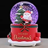 XXMANX 100 MM Christmas Snow Globe with 8 Music and 4 Color Lights Music Box Home Decoration for Girls Boys Kids Granddaughters Babies Birthday Gift, Musical, Resin/Glass