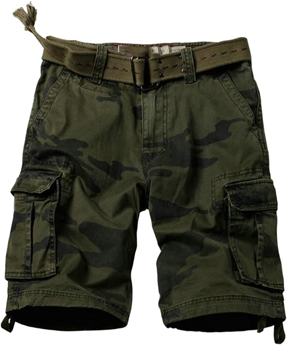 CMCYY Mens Camo Casual Ripstop Loose Fit Rugged Open Bottom Cargo Shorts