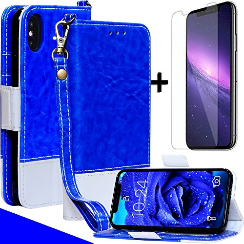 Mefon iPhone X Xs Detachable Leather Wallet Case, with Tempered Glass and Wrist Strap, Enhanced Magnetic Closure, Card Slot, Kickstand, Luxury Flip Folio Cases for Apple iPhone 10 (Stary Night)