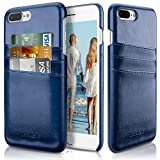iPhone 7 Plus Case with Card Holder, Premium Leather [3 Card Slots] Slim Credit Card ID Holder Non-Slip Grip Protective Cover Cases for Apple iPhone 7 Plus (2016)/iPhone 8 Plus (2017) – [Navy Blue]