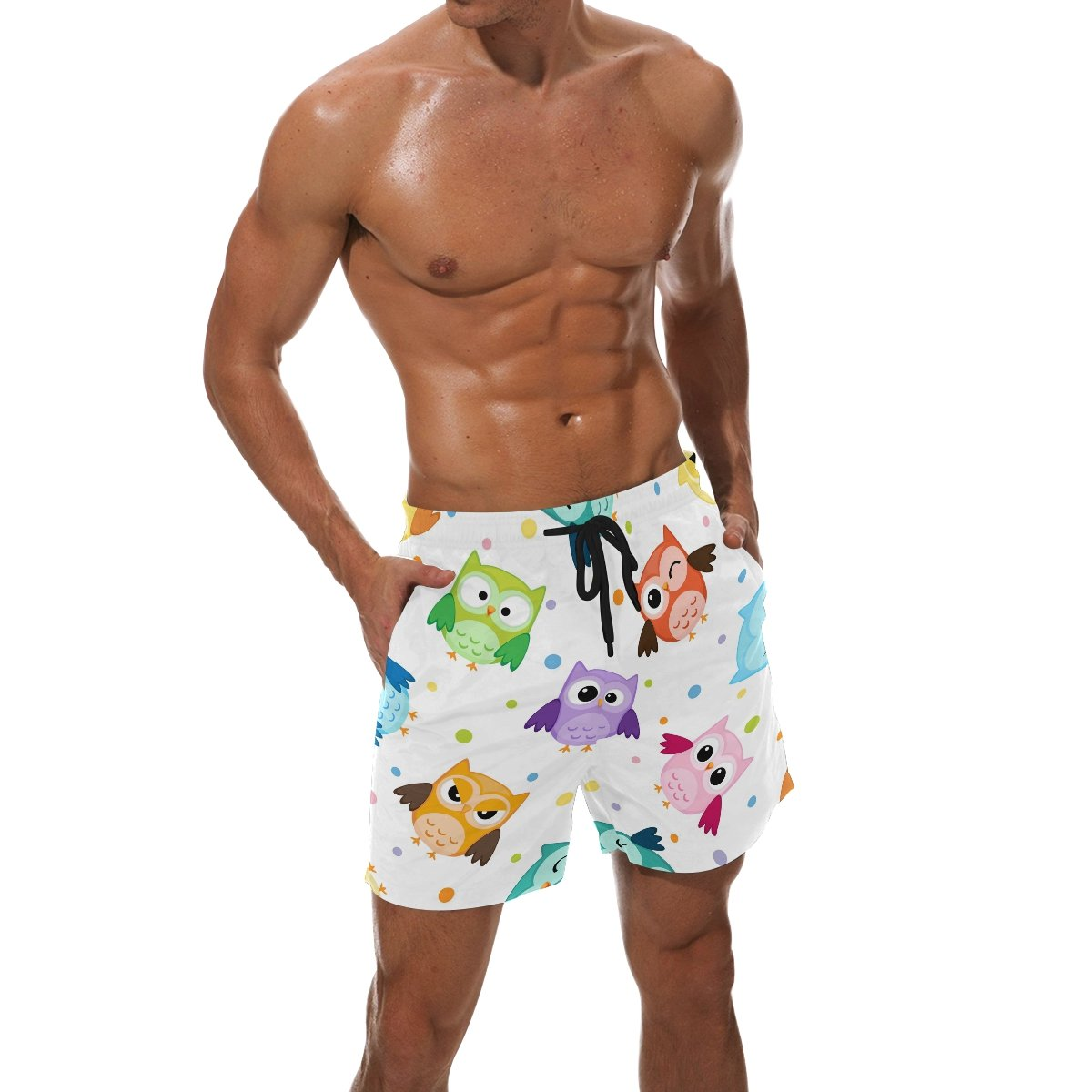 LORVIES Mens Owls Pattern Beach Board Shorts Quick Dry Swim Trunk